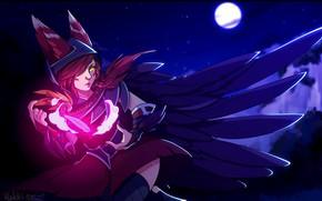 Картинка девушка, ночь, магия, луна, перья, ушки, League of Legends