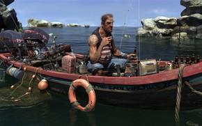 Картинка Sky, Water, Sea, Rocks, Boat, Tattoos, Waiting, Fishing, Cigarette, Motor, Old Man, Anchor, Net, Fisherman, …