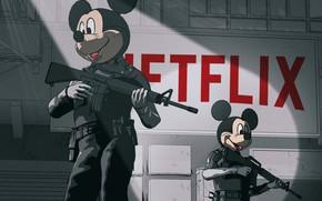 Картинка Рисунок, Оружие, Wars, Disney, Gun, Арт, Art, Микки Маус, Mickey Mouse, Netflix, by Beeple, Beeple, …