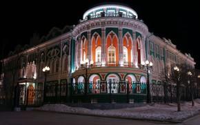 Обои зима, снег, ночь, стиль, готика, забор, окна, подсветка, колонны, архитектура, достопримечательность, екатеринбург, барокко, классицизм, дом ...