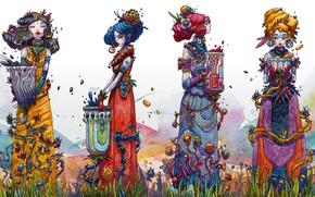 Картинка украшения, цветы, девушки, костюм, Ink Muses