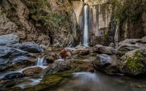 Картинка лес, скалы, водопад, поток