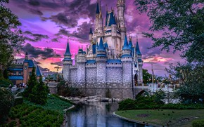 Картинка вода, город, замок, вечер, Флорида, США, Орландо, парк развлечений