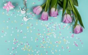 Картинка фон, голубой, букет, сердечки, тюльпаны, птички, розовые