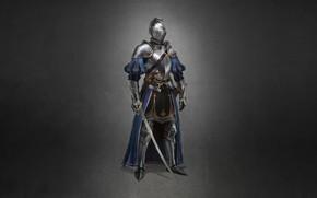 Картинка Минимализм, Доспехи, Меч, Воин, Арт, Art, Warrior, Knight, Minimalism, Sword, Armor, Character, Max Yenin, 1660, …