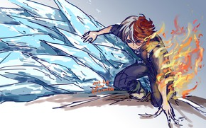 Картинка лёд, парень, причуда, My Hero Academia, Boku No Hero Academia, Тодороки Шото, Моя Геройская Академия