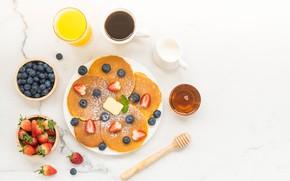 Картинка ягоды, завтрак, сок, оладьи
