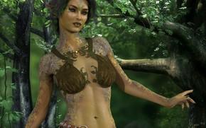 Картинка листья, девушка, природа