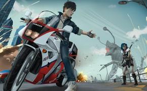 Обои девушка, улица, монстр, мотоцикл, парень