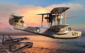 Картинка Великобритания, Палубный, Supermarine Walrus, гидросамолет, royal navy, самолет-разведчик, Adam Tooby, Supermarine Walrus Mk.I