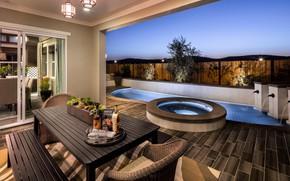 Картинка вилла, интерьер, бассейн, терраса, столовая, luxury outdoor living