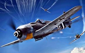 Картинка атака, P-51D, инверсионный след, Sturmbock, Fw.190A-8/R8, JG4