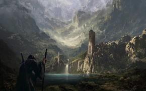 Картинка замок, крепость, водоём, странник, Lands of Old