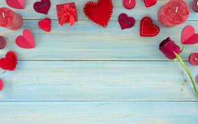 Картинка flowers, red, gift box, подарок, красные, конфеты, hearts, сердечки, chocolate, розы, romantic, valentine's day, roses, …
