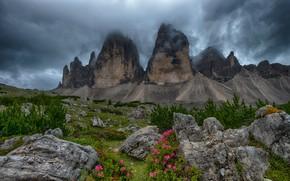 Картинка пейзаж, горы, тучи, природа, камни, растительность, Италия, кусты, Доломиты