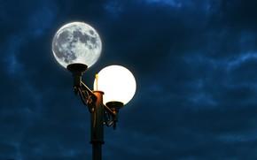 Картинка космос, ночь, луна, фонарь, ночное небо, картинка луна