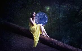 Картинка девушка, дерево, часы