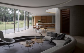 Картинка дизайн, вилла, интерьер, кухня, гостиная, столовая, House in Coombe Park, by Eldridge London