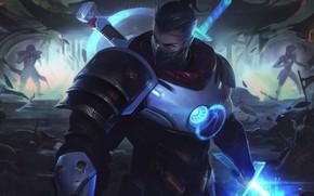 Картинка меч, маска, броня, парень, League of Legends, Лига Легенд