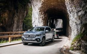 Картинка Mercedes-Benz, тоннель, пикап, прицеп, 2018, X-Class, серо-серебристый