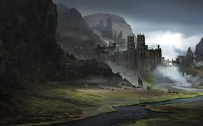 Картинка Fantasy, Landscape, Castle, Mountains, Iceland, Concept Art, Environments, Alejandro Olmedo, by Alejandro Olmedo, Lost in …