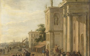 Картинка масло, картина, холст, Якоб ван дер Ульфт, 1689, Jacob van der Ulft, Итальянский рынок