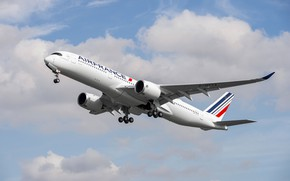 Картинка Посадка, Airbus, Air France, Крыло, Airbus A350-900, Шасси, Пассажирский самолёт, Airbus A350 XWB