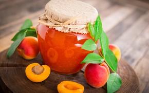 Картинка банка, варенье, абрикосы