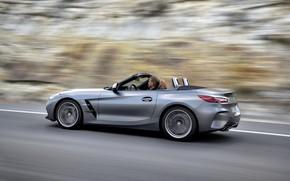 Картинка дорога, серый, фон, размытие, BMW, родстер, BMW Z4, M40i, Z4, 2019, G29