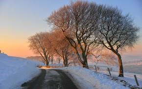 Картинка зима, дорога, закат