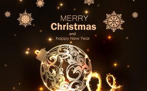 Картинка снежинки, фон, блеск, новый год, рождество, открытка