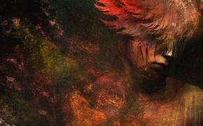 Картинка colors, colorful, digital, woman, art, wings, angel, painting, sad girl, sad angel