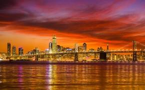 Обои США, река, небо, ночь, огни, дома, Сан-Франциско, мост
