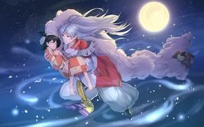 Картинка луна, демон, девочка, Рин, Inuyasha, Инуяша, Сешоумару