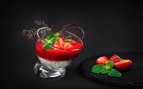 Картинка ягоды, клубника, десерт, мусс, чиа