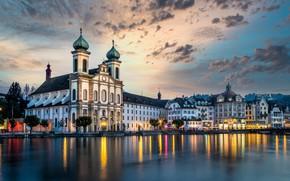 Картинка небо, река, здания, дома, Швейцария, церковь, набережная, Switzerland, Люцерн, Lucerne, Reuss River, Река Ройсс, Jesuit …
