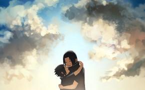 Картинка радость, братья, naruto, sky, art, Itachi Uchiha, Sasuke Uchiha, by Ns7104, Uchiha brothers