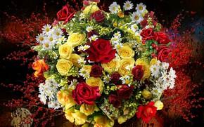 Картинка ягоды, розы, ромашки, Букет