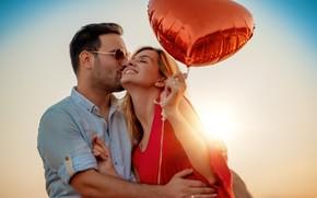 Картинка девушка, любовь, радость, счастье, сердце, поцелуй, объятия, пара, парень, влюбленные