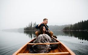 Картинка лес, девушка, озеро, фото, лодка, парень, Berty Mandagie