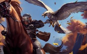Картинка птица, лошадь, мужик, всадник, орёл, Legends of Runeterra