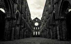 Картинка Италия, развалины, руины, Тоскана, Аббатство Святого Галгано