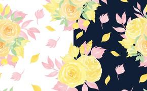 Картинка листья, цветы, фон, бесшовный