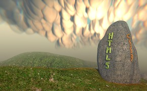Картинка fantasy, landscape, stone, html5, joke, css3, Blender3d, blenderrender, mammatocumulus, menhir, mammatus