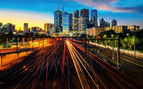 Картинка ночь, сити, город, огни, Австралия, Мельбурн