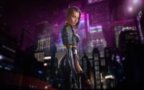 Картинка Девушка, Ночь, Город, Робот, Пистолет, Неон, Girl, City, Fantasy, Gun, Sexy, Art, Убийца, Robot, Neon, …