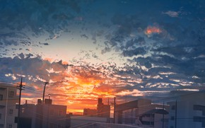 Картинка небо, закат, город