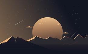 Картинка звезды, горы, планета, минимализм