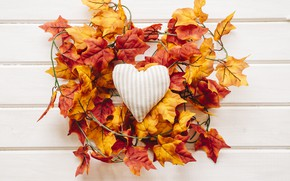 Картинка осень, листья, любовь, фон, дерево, сердце, colorful, love, клен, heart, wood, background, autumn, leaves, romantic, …
