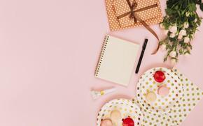 Картинка день рождения, праздник, розы, букет, подарки